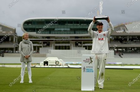 Stock Picture of Tom Westley of Essex lifts the Bob Willis trophy during Somerset CCC vs Essex CCC, Bob Willis Trophy Final Cricket at Lord's Cricket Ground on 27th September 2020
