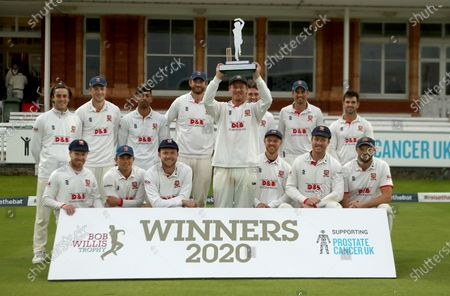 Stock Photo of Tom Westley of Essex lifts the Bob Willis trophy during Somerset CCC vs Essex CCC, Bob Willis Trophy Final Cricket at Lord's Cricket Ground on 27th September 2020