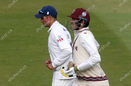 Craig Overton (right) of Somerset and Sir Alastair Cook of Essex (left) run off following the declaration during Somerset CCC vs Essex CCC, Bob Willis Trophy Final Cricket at Lord's Cricket Ground on 27th September 2020