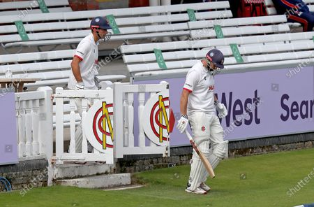 Sir Alastair Cook and Nick Browne of Essex take to the field during Somerset CCC vs Essex CCC, Bob Willis Trophy Final Cricket at Lord's Cricket Ground on 27th September 2020