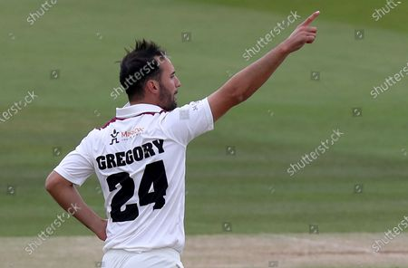 Lewis Gregory of Somerset celebrates taking the wicket of Nick Browne during Somerset CCC vs Essex CCC, Bob Willis Trophy Final Cricket at Lord's Cricket Ground on 27th September 2020