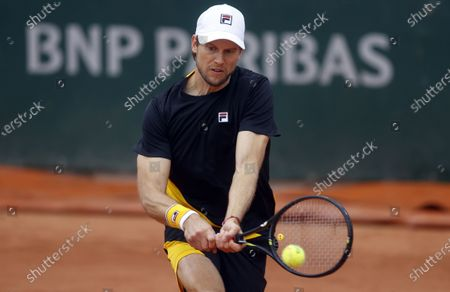 Andreas Seppi of Italy in action against Sebastian Korda of the USA during their men's first round match during the French Open tennis tournament at Roland Garros in Paris, France, 27 September 2020.