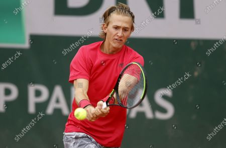 Sebastian Korda of the USA in action against Andreas Seppi of Italy during their men's first round match during the French Open tennis tournament at Roland Garros in Paris, France, 27 September 2020.