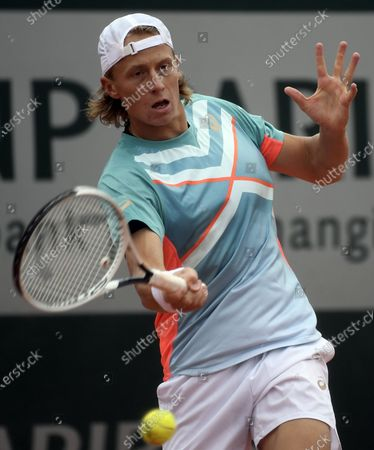 Emil Ruusuvuori of Finland in action against Benjamin Bonzi of France during their men's first round match during the French Open tennis tournament at Roland Garros in Paris, France, 27 September 2020.