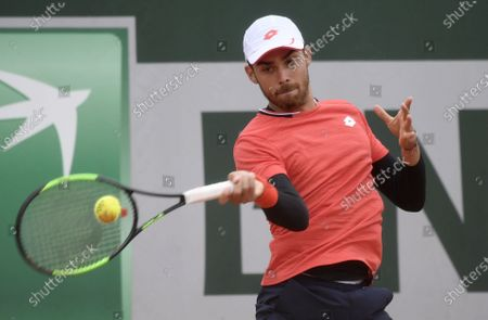 Benjamin Bonzi of France in action against Emil Ruusuvuori of Finland during their men's first round match during the French Open tennis tournament at Roland Garros in Paris, France, 27 September 2020.