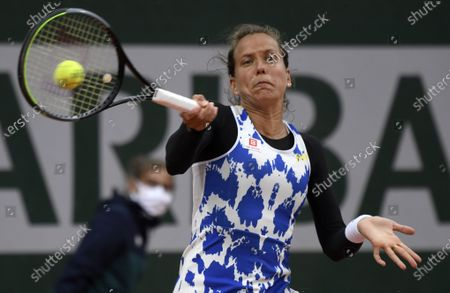 Barbara Strycova of the Czech Republic in action against Varvara Lepchenko of the USA during their women's first round match during the French Open tennis tournament at Roland Garros in Paris, France, 27 September 2020.