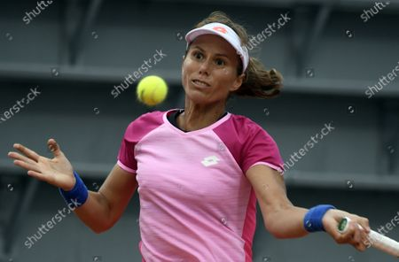 Stock Photo of Varvara Lepchenko of the USA in action against Barbara Strycova of the Czech Republic during their women's first round match during the French Open tennis tournament at Roland Garros in Paris, France, 27 September 2020.