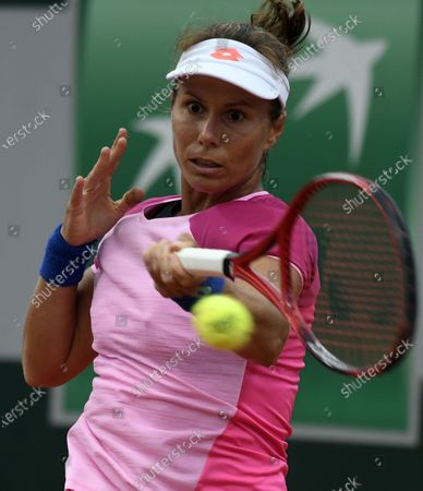 Stock Picture of Varvara Lepchenko of the USA in action against Barbara Strycova of the Czech Republic during their women's first round match during the French Open tennis tournament at Roland Garros in Paris, France, 27 September 2020.