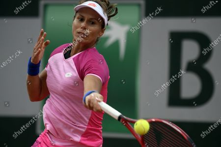 Varvara Lepchenko of the USA in action against Barbara Strycova of the Czech Republic during their women's first round match during the French Open tennis tournament at Roland Garros in Paris, France, 27 September 2020.