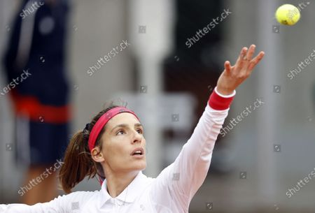 Andrea Petkovic of Germany plays Tsvetana Pironkova of Bulgaria during their women's first round match during the French Open tennis tournament at Roland Garros in Paris, France, 28 September 2020.