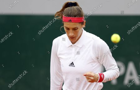 Stock Picture of Andrea Petkovic of Germany reacts as she plays Tsvetana Pironkova of Bulgaria during their women's first round match during the French Open tennis tournament at Roland Garros in Paris, France, 28 September 2020.
