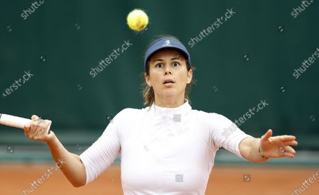 Tsvetana Pironkova of Bulgaria plays Andrea Petkovic of Germany during their women's first round match during the French Open tennis tournament at Roland Garros in Paris, France, 28 September 2020.
