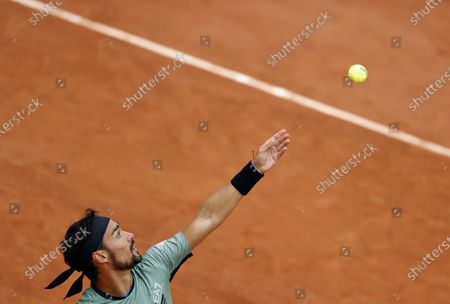 Fabio Fognini of Italy in action against Mikhail Kukushkin of Kazakhstan during their men's first round match during the French Open tennis tournament at Roland Garros in Paris, France, 28 September 2020.