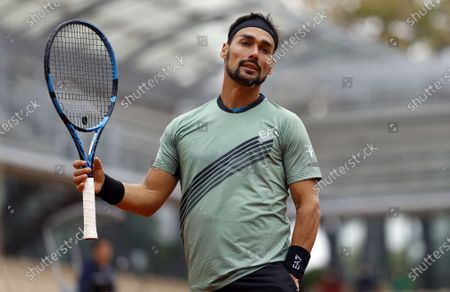 Fabio Fognini of Italy reacts as he plays Mikhail Kukushkin of Kazakhstan during their men's first round match during the French Open tennis tournament at Roland Garros in Paris, France, 28 September 2020.