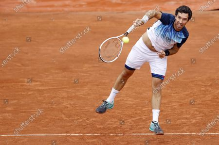 Mikhail Kukushkin of Kazakhstan in action against Fabio Fognini of Italy during their men's first round match during the French Open tennis tournament at Roland Garros in Paris, France, 28 September 2020.
