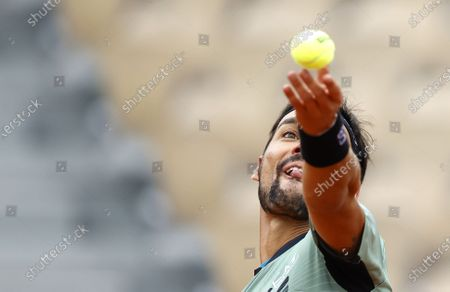 Fabio Fognini of Italy plays Mikhail Kukushkin of Kazakhstan during their men's first round match during the French Open tennis tournament at Roland Garros in Paris, France, 28 September 2020.