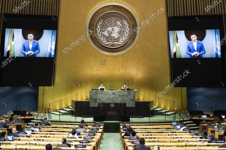 Jamaican Prime Minister Andrew Holness (on the screens) addresses the General Debate of the 75th session of the UN General Assembly at the UN headquarters in New York, on Sept. 26, 2020. The General Debate of the 75th session of the UN General Assembly entered the fifth day on Saturday.