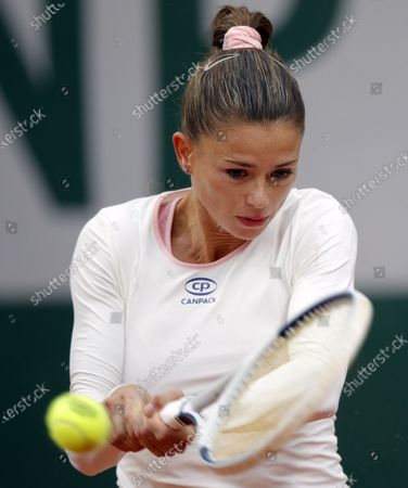 Camila Giorgi of Italy in action against Martina Trevisan of Italy during their women's first round match during the French Open tennis tournament at Roland Garros in Paris, France, 27 September 2020.