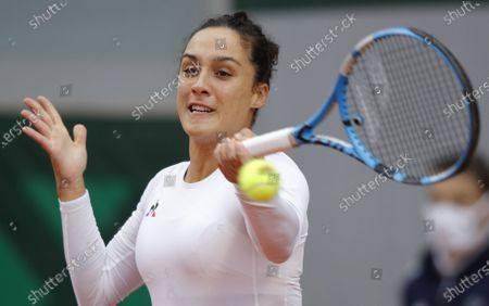 Martina Trevisan of Italy in action against Camila Giorgi of Italy during their women's first round match during the French Open tennis tournament at Roland Garros in Paris, France, 27 September 2020.