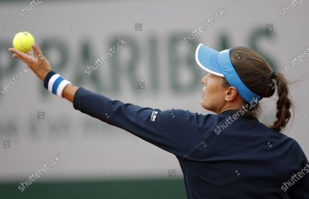 Monica Puig of Puerto Rico in action against Sara Errani of Italy during their women's first round match during the French Open tennis tournament at Roland Garros in Paris, France, 28 September 2020.