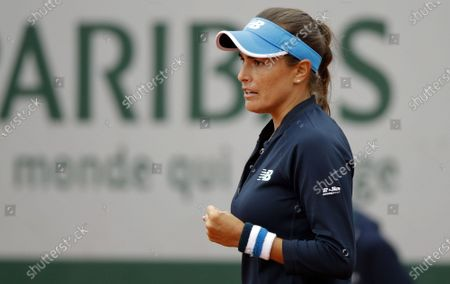 Monica Puig of Puerto Rico reacts as she plays Sara Errani of Italy during their women's first round match during the French Open tennis tournament at Roland Garros in Paris, France, 28 September 2020.