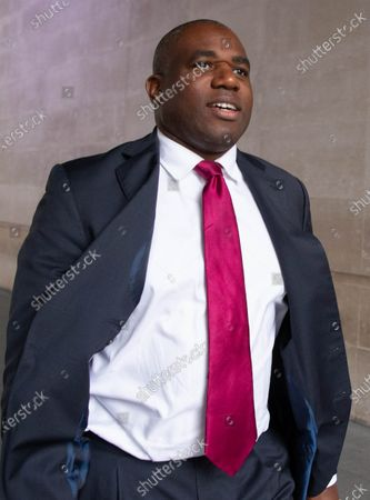 Stock Photo of David Lammy, Shadow Justice Secretary, leaves the BBC Studios after appearing on 'The Andrew Marr Show'.