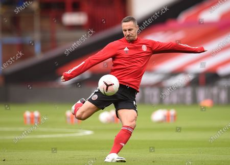 Stock Picture of Phil Jagielka of Sheffield warms up for the English Premier League soccer match between Sheffield United and Leeds United in Sheffield, Britain, 27 September 2020.