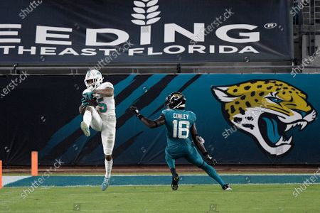 Miami Dolphins cornerback Xavien Howard (25) intercepts a pass intended for Jacksonville Jaguars wide receiver Chris Conley (18) during the second half of an NFL football game, in Jacksonville, Fla