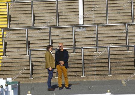 Chester Chief Executive Richard Thomas and Dr Marwan Koukash in conversation at Chester 's last Behind Closed Doors fixture.