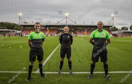 Stock Image of Marcus Carmichael (Assistant Referee), Rebecca Walsh (Referee) & Jade Wardle (Assistant Referee) ahead of the Women's FA Cup match between Brighton and Hove Albion Women and Birmingham City Women at The People's Pension Stadium, Crawley