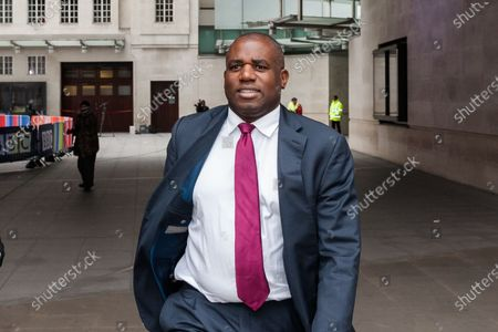 Stock Image of Shadow Justice Secretary David Lammy leaves the BBC Broadcasting House in central London after appearing on The Andrew Marr Show.