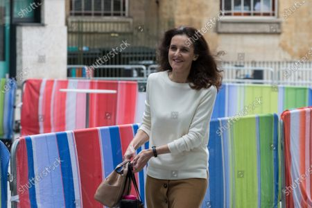 Conservative MP Theresa Villiers is seen outside the BBC Broadcasting House in central London.