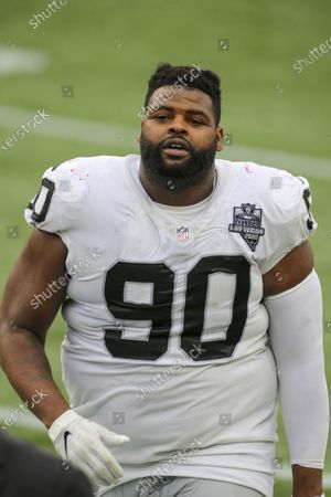 Las Vegas Raiders defensive lineman Johnathan Hankins (90) following an NFL football game against the New England Patriots, in Foxborough, Mass