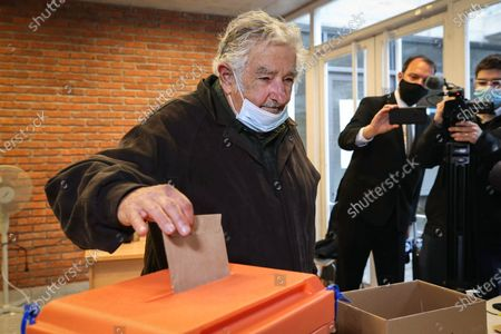 Uruguayan former president Jose Mujica votes during the departmental elections, in Montevideo, Uruguay, 27 September 2020. 2.7 million citizens are called to vote in the 7.130 voting centers that opened their doors this Sunday in Uruguay to elect the rulers of their departments (provinces) and municipalities for the period 2020-2025.