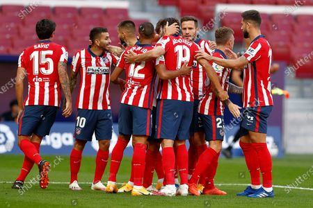 Diego Costa of Atletico de Madrid celebrates after scoring the 1-0 with his teammates
