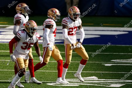 San Francisco 49ers cornerback Dontae Johnson (27) reacts against the New York Giants during an NFL football game, in East Rutherford, N.J