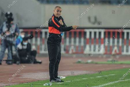 Fabio Cannavaro, head coach of Guangzhou Evergrande Taobao, reacts during the 14th round match between Guangzhou Evergrande Taobao and Dalian Pro at the postponed 2020 season Chinese Football Association Super League (CSL) Dalian Division in Dalian, northeast China's Liaoning Province, Sept. 27, 2020.