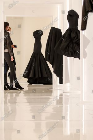Creations designed by Tunisian fashion designer Azzedine Alaia are displayed during the 'Alaia et Balenciaga - Sculpteurs de la forme' exhibition at Azzedine Alaia Foundation in Paris, France, 27 September 2020. The 2020 Paris Fashion Week runs from 28 September to 06 October 2020.