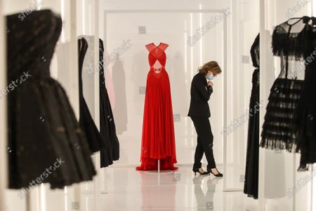 Stock Picture of Creations designed by Tunisian fashion designer Azzedine Alaia (C) are displayed during the 'Alaia et Balenciaga - Sculpteurs de la forme' exhibition at Azzedine Alaia Foundation in Paris, France, 27 September 2020. The 2020 Paris Fashion Week runs from 28 September to 06 October 2020.