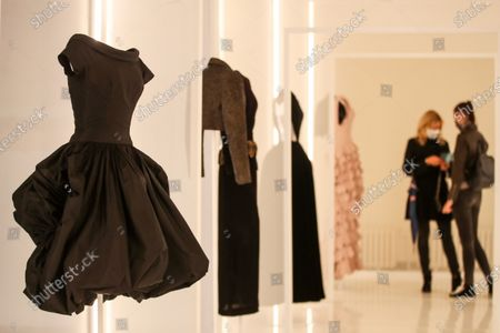 Creations designed by Spanish fashion designer Cristobal Balenciaga are displayed during the 'Alaia et Balenciaga - Sculpteurs de la forme' exhibition at Azzedine Alaia Foundation in Paris, France, 27 September 2020. The 2020 Paris Fashion Week runs from 28 September to 06 October 2020.