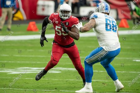 Arizona Cardinals linebacker Chandler Jones (55) in action against Detroit Lions offensive tackle Taylor Decker (68) during an NFL football game, in Glendale, Ariz