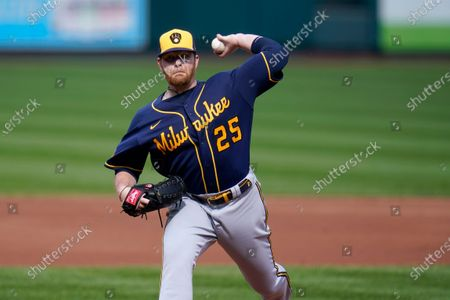 Milwaukee Brewers starting pitcher Brett Anderson throws during the second inning of a baseball game against the St. Louis Cardinals, in St. Louis