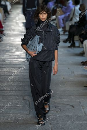 Stock Picture of Mica Arganaraz on the catwalk wearing an outfit from the women s ready to wear collections, spring summer 2021, original creation, during the Womenswear Fashion Week in Milan, from the house of Boss