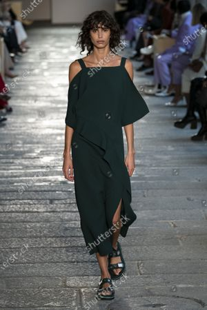 Stock Image of Mica Arganaraz on the catwalk wearing an outfit from the women s ready to wear collections, spring summer 2021, original creation, during the Womenswear Fashion Week in Milan, from the house of Boss