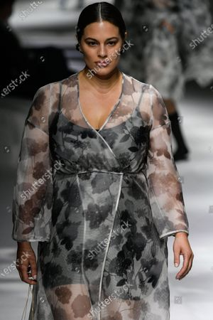 Ashley Graham on the catwalk wearing an outfit from the women s ready to wear collections, spring summer 2021, original creation, during the Womenswear Fashion Week in Milan, from the house of Fendi