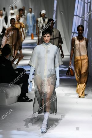 Edie Campbell on the catwalk wearing an outfit from the women s ready to wear collections, spring summer 2021, original creation, during the Womenswear Fashion Week in Milan, from the house of Fendi