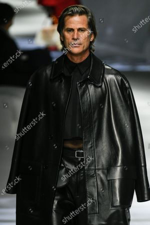Mark Vanderloo on the catwalk wearing an outfit from the women s ready to wear collections, spring summer 2021, original creation, during the Womenswear Fashion Week in Milan, from the house of Fendi