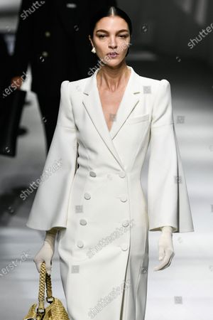 Stock Picture of Mariacarla Boscono on the catwalk wearing an outfit from the women s ready to wear collections, spring summer 2021, original creation, during the Womenswear Fashion Week in Milan, from the house of Fendi