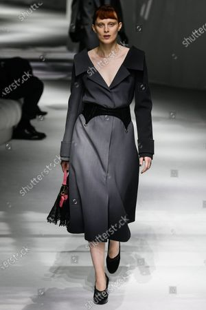 Stock Photo of Karen Elson on the catwalk wearing an outfit from the women s ready to wear collections, spring summer 2021, original creation, during the Womenswear Fashion Week in Milan, from the house of Fendi