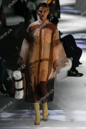 Anna Ewers on the catwalk wearing an outfit from the women s ready to wear collections, spring summer 2021, original creation, during the Womenswear Fashion Week in Milan, from the house of Fendi